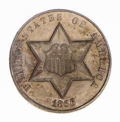 Proof 1866 Silver Three-Cent Piece, Excellent, Sharp