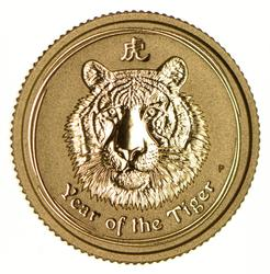 2010 Australia $15.00 1/10 OZ. 999 Gold Year Of The Tiger