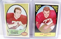 2 Jim Tyrer, Chiefs Football Cards