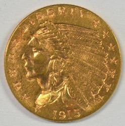 Flashy 1915 US $2.50 Indian Gold Piece