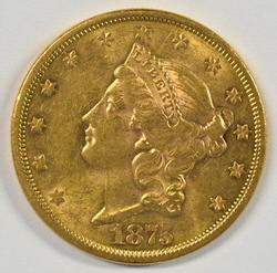 Basically Mint State 1875-S Ty 2 $20 Liberty Gold Piece