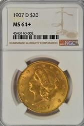 Basically Gem BU 1907-D $20 Liberty Gold. NGC MS 64+