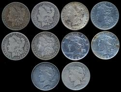 10 Assorted Morgan & Peace Silver Dollars in circ