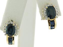 Fancy Sapphire & Diamond J Hoop Earrings at 2.15 CTW