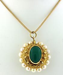 Vintage Pearl & Green Chrysoprase 2 Sided Pendant Neck