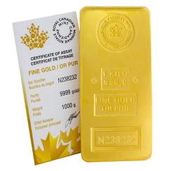 Royal Canadian Mint Fine Gold Kilo Bar 32.15 troy ounce