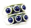 Wide Sterling Silver & Lapis Cabochons Ring