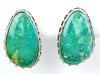 A. Martinez Large Sterling Turquoise Navajo Earrings