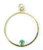 Vintage 10K Circle Pendant with Emerald