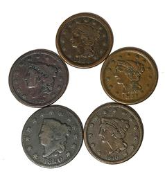 1820 1838 1840 1849 1851 and 1854 Large Cents
