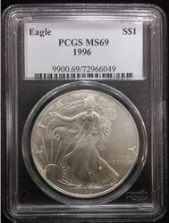 Certified Silver Eagle 1996 MS 69 PCGS