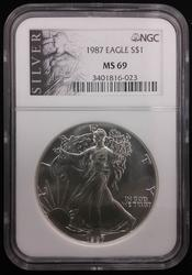 Certified Silver Eagle 1987 MS 69 NGC