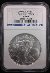 Certified Silver Eagle 2009 Early Release MS 69 NGC