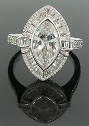 3+ CTW Diamond Marquise Band in 18K, High End