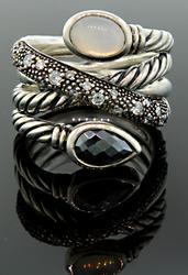 David Yurman Crossover Ring w/Hematine, Quartz & Diam