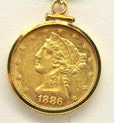 816 $5 Gold Coin Pendant With Chain