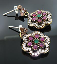 Floral Motif Dangle Earrings with Colorful Stones