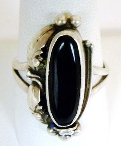 Signed N.A. Indian Sterling Onyx Ring