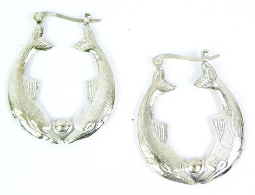 Sterling Double Dolphin Hoop Earrings