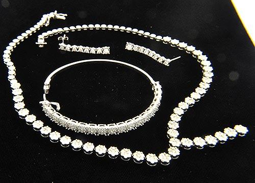 LADIES WHITE GOLD DIAMOND NECKLACE, BANGLE AND EARRINGS