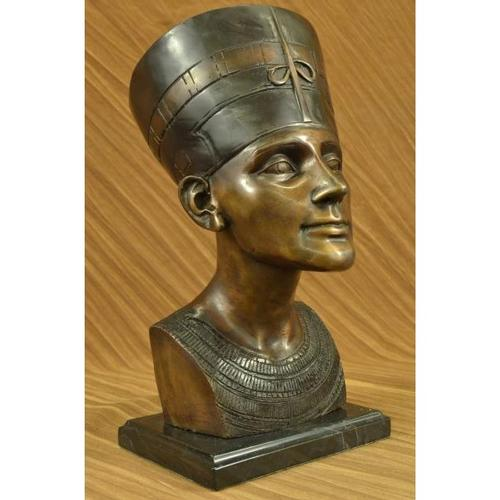 Queen Nefertiti Egyptian Bronze Statue Bust