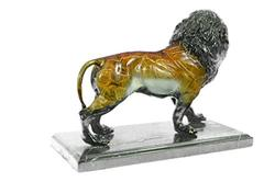 Special Patina Lion Leo Bronze Sculpture on Marble Base Statue