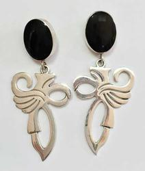 Dramatic, Large, Black Onyx & 'Abstract Sterling Bird' Earrings