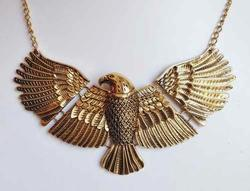 Huge 'Soaring Eagle' Reticulated, Rustic Gold Tone Necklace