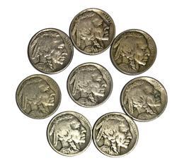 Lot of 8 Earlier Full Date Buffalo Nickels