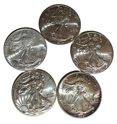 5 Different Silver Eagles Uncirculated