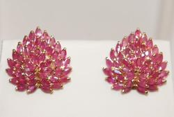 6 CARAT RUBY AND 14K GOLD EARRINGS