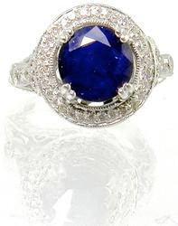 Ornate White Gold & Sapphire and Diamond Ring