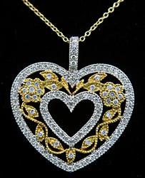 Filigree Diamond Heart Pendant Necklace 1+ ctw