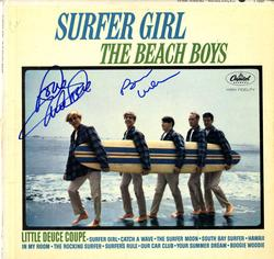 Beach Boys X2 Autographed Surfer Girl Album Cover AFTAL
