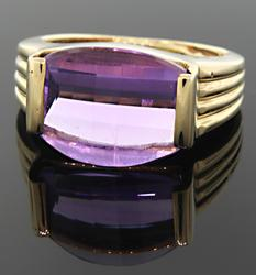 Channel Set Amethyst Yellow Gold Ring