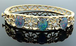 Fancy Opal Triplet & Diamond Bangle Bracelet