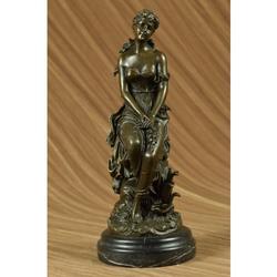 Sexy Maiden Captive Bronze Sculpture on Marble Base Sta