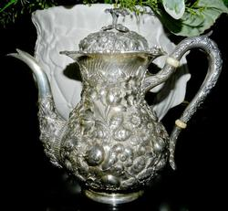 Gorgeous Hand Chased Sterling Teapot by Schofield