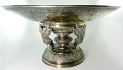 Vintage Detailed Ethnic Silver Fruit Bowl