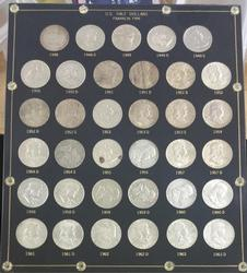 US Franklin Half Dollars 1948-1963 In Display