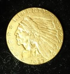 1927 US Gold $2.5 Indian , Circulated