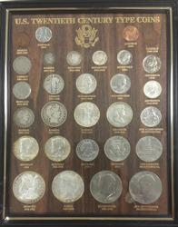 US 20th Century Type Coins Framed Display