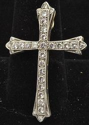 2+ctw Diamond Cross Design Pendant, 14kt White Gold