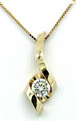 Yellow Gold Diamond Solitaire Swirl Necklace