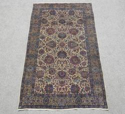Hunting Design Antique Persian Kerman 6.9 x 3.9