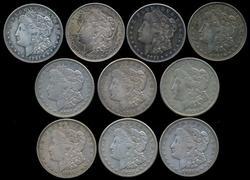 Half Roll of 10 Morgan Silver Dollars from 1921. Circs