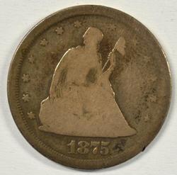 Collectible 1875-S Twenty Cent Piece. Circ