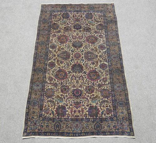 Hunting Design Antique Persian Kerman Rug 4x7