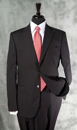 A Must Have Fitted Style Black Suit, Tailored In Italy