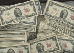 Lot of 100 - RED SEAL United States $2.00 Notes